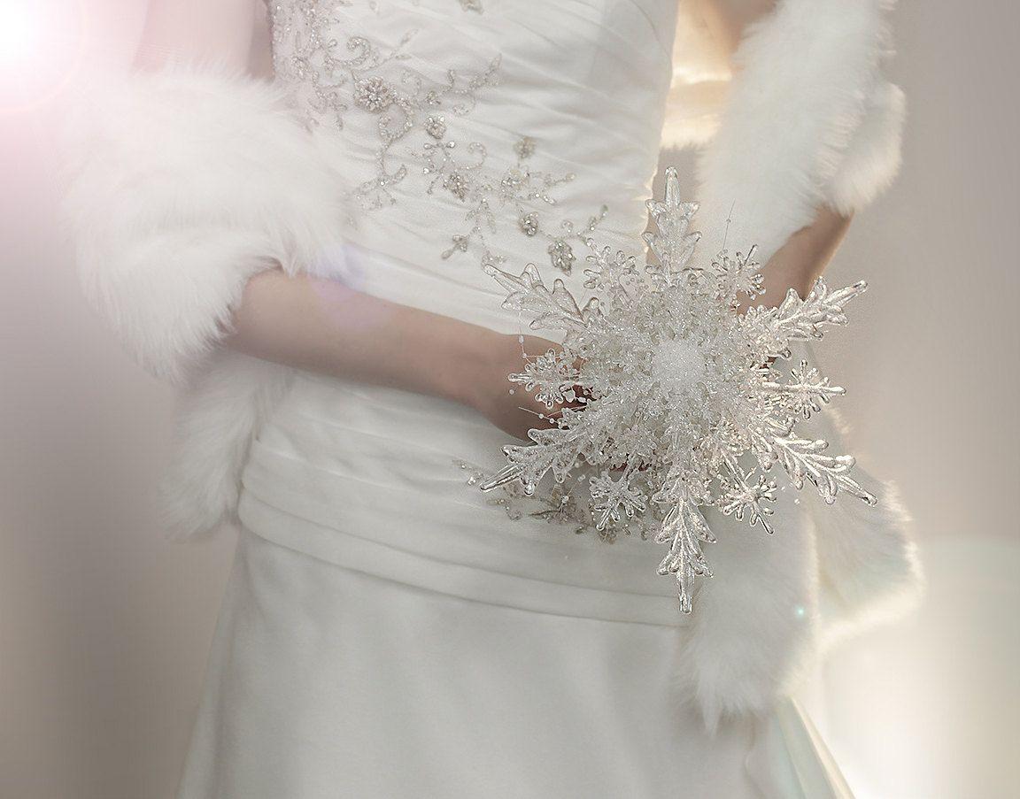 Wedding Flowers Crystal Snowflake Bridal Bouquet Winter Or