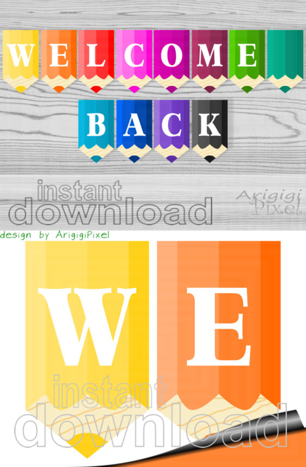 welcome back printable banner colored pencils classroom pennants