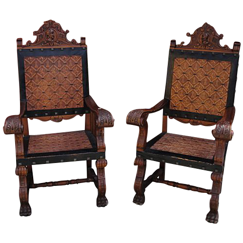 Antique Furniture Spanish Antique Chairs Carved Throne Leather Chairs  Armchairs! - Antique Furniture Spanish Antique Chairs Carved Throne Leather