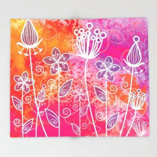 Watercolor Flowers 2 Throw Blanket