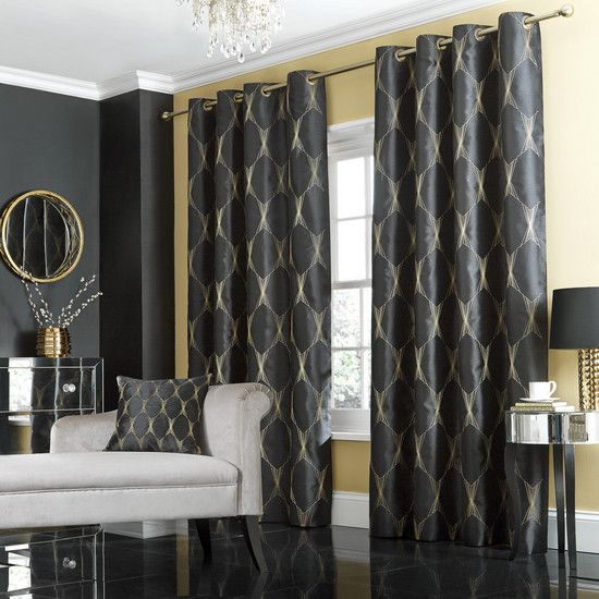 Black jazz lined eyelet curtain collection dunelm - Black and gold living room curtains ...