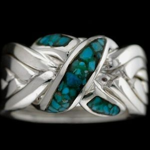 High Grade Turquoise Hollow Set Sterling Mens Silver  Ring