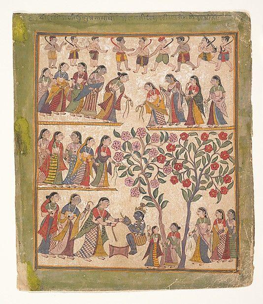 """Yashoda binds Krishna's hands"", page from a dispersed Bhagavata Purana manuscript, 1640–50, India (Gujarat), source: The Metropolitan Museum of Art"