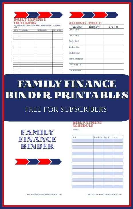 Free Family Finance Binder Printables - for your family budget and