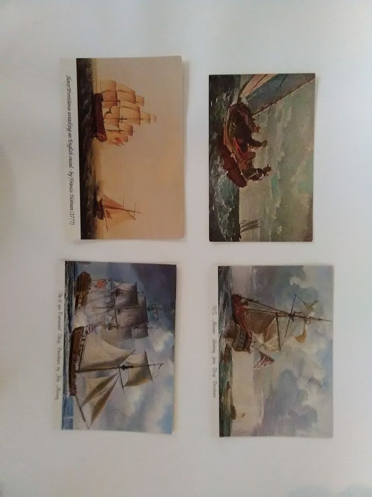 Lot of 4 vintage postcards with ships