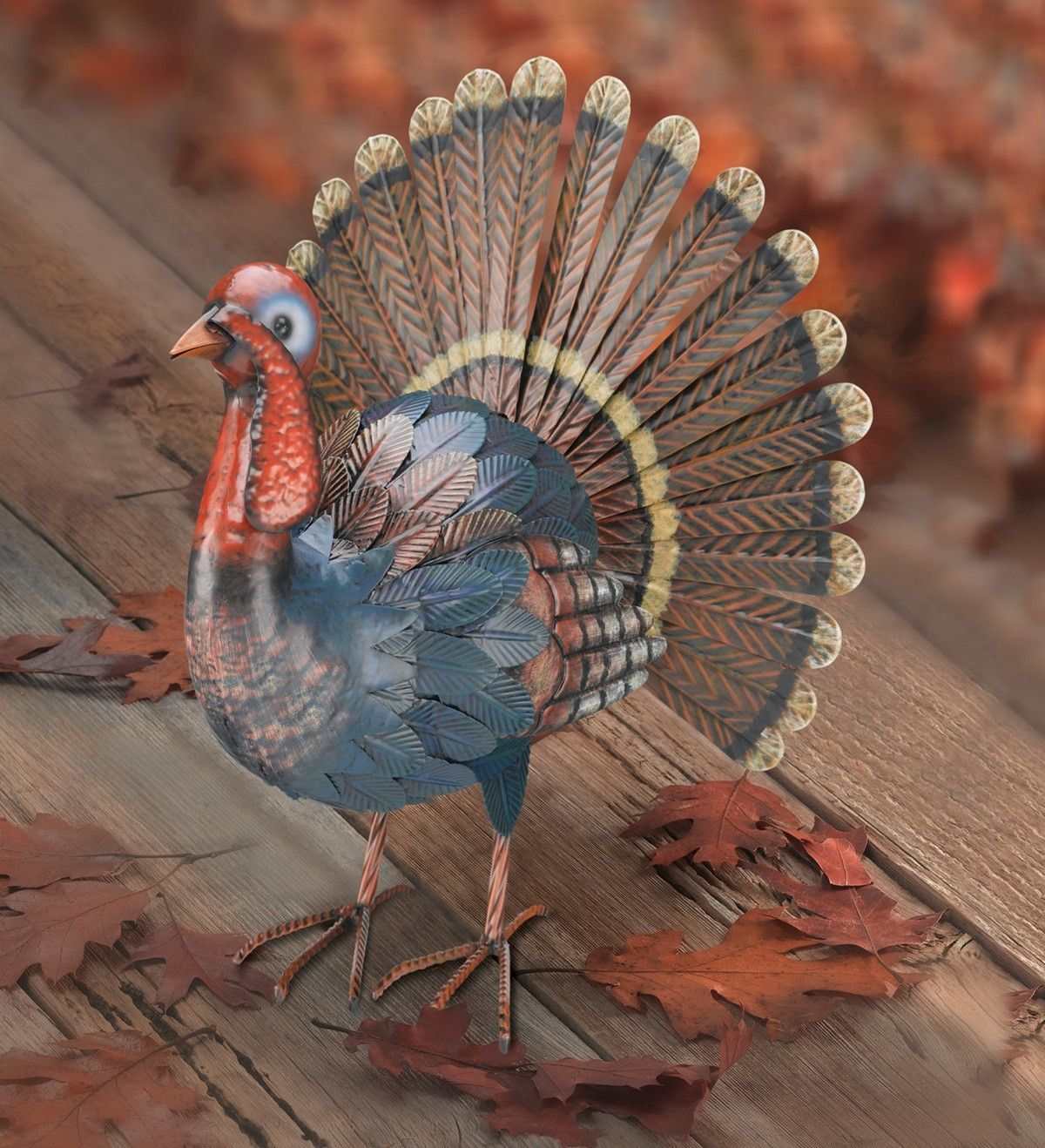Handcrafted Metal Turkey 17 Inch Fall Display Thanksgiving