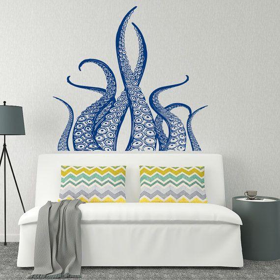 Octopus Tentacles Wall Decal Kraken Art Octopus Decal by HomyVinyl & Octopus Tentacles Wall Decal Kraken Art- Octopus Decal Nautical ...