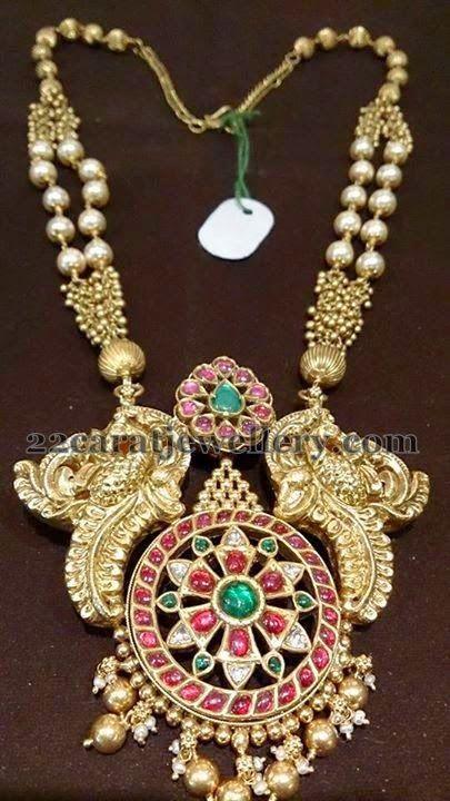 Peacocks Design Kundan Gold Mala - Jewellery Designs