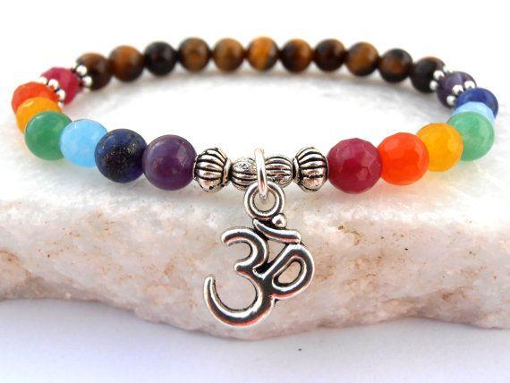Chakra Om bracelet , 7 Chakra bracelet, Tiger's Eye bracelet, Om bracelet, Yoga bracelet, Meditation bracelet