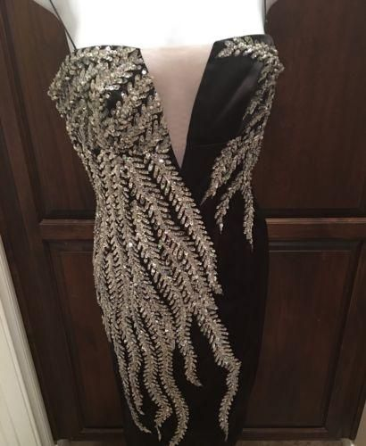 MANDALAY Strapless Evening Cocktail Formal Midi Dress Black/Silver SIZE 4 SEXY