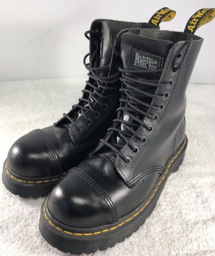 DR. MARTENS DOCS BxB 10 Eye STEEL TOE 8761 UK 8 US Mens 9 US Womens 10BLACK   494137caf