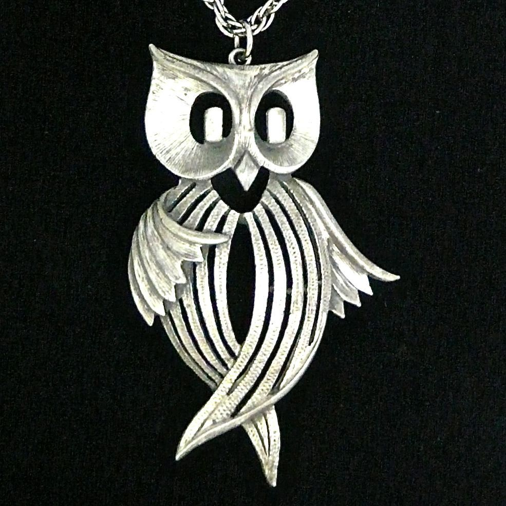 "Ilike this one, he looks like he's dancing!  Vintage Owl 1970""s Pendant Necklace from carolbarrettjewelry on Ruby Lane"