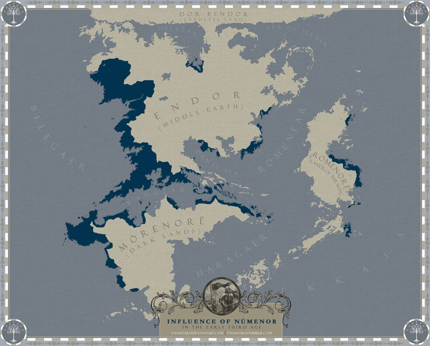 Numenorean Colonies Expansion in Second Age Middle Earth. | Maps