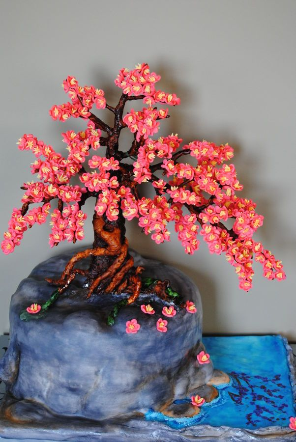 Bonsai Cherry Blossom Tree Cake Make Water Deeper And Clear And Add A Couple Koi Swimming Around Cherry Blossom Tree Blossom Trees Japanese Tree