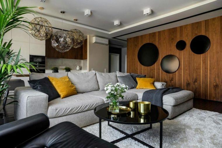 Lampadari moderni soggiorno a sfera divano grigio in tessuto con