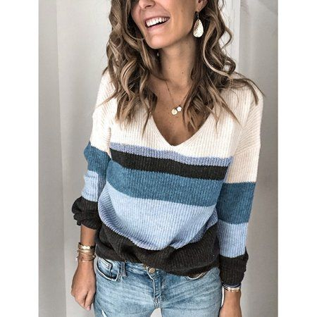 New Women V-neck Color-Block Knitted Tops Pullover