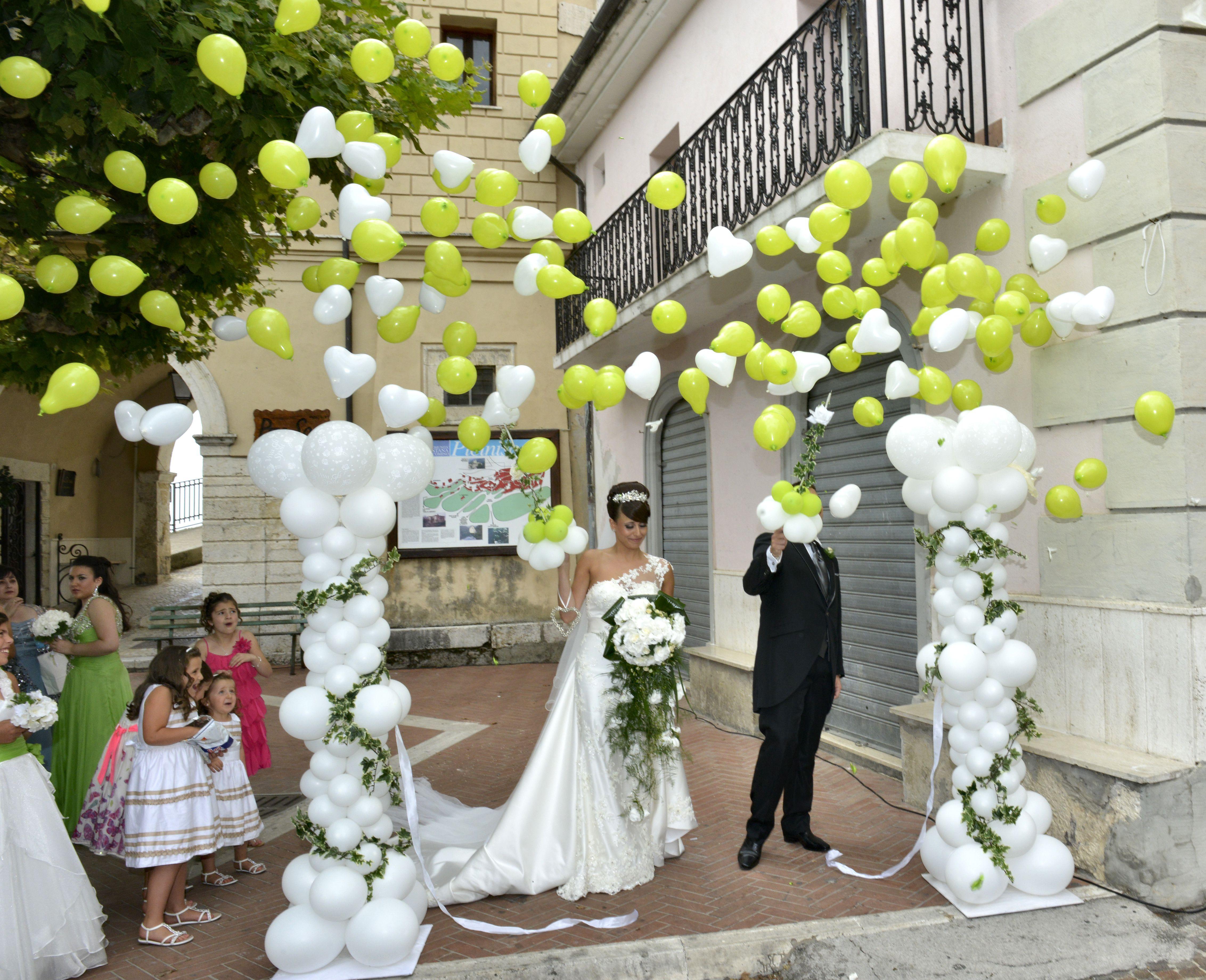 Wedding balloon Columns- Bursting Balloons