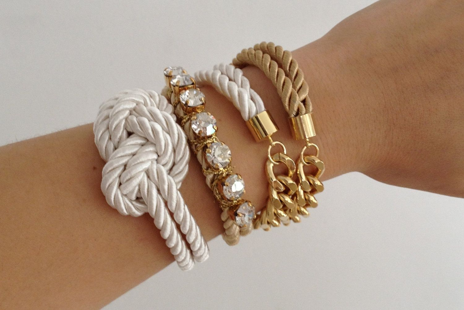 Arm candy set chunky chain and knot silk bracelet k gold