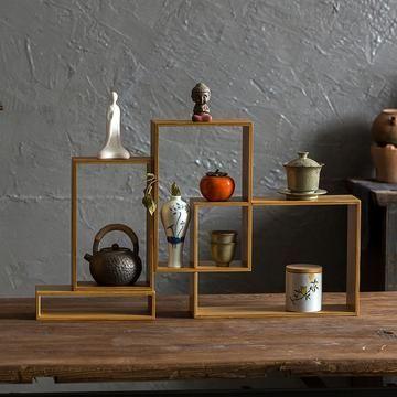 Japanese Slotted Cabinet Tea Display Decor
