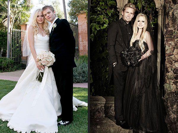 A la derecha: Avril Lavigne en su boda con Deryck Whibley en el 2006 ...