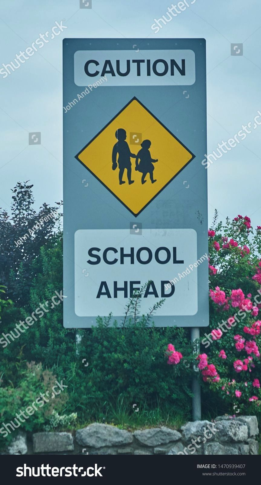 use only a sign on the side of the road expressing caution due to school ahead taken outside Athlone Co Westmeath Ireland in July 2017 Editorial use only a sign on the si...