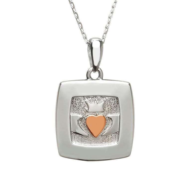 Square Claddagh Pendant #houseoflor #irishjewelry #irishgold #pendant #sterlingsilver #rosegold #claddagh #celticjewelry