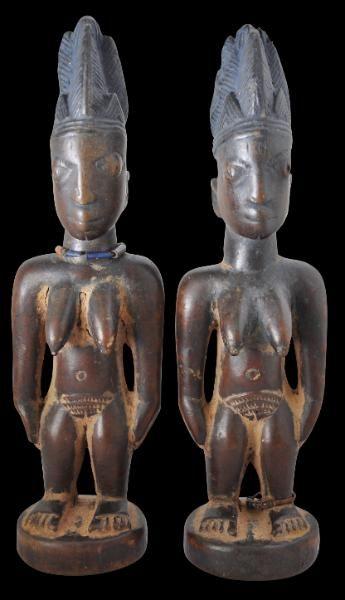Superb Pair of Ibeji Figures (Ere Ibeji) Yoruba People, Oyo Tribe, Shaki Region, Nigeria late 19th century