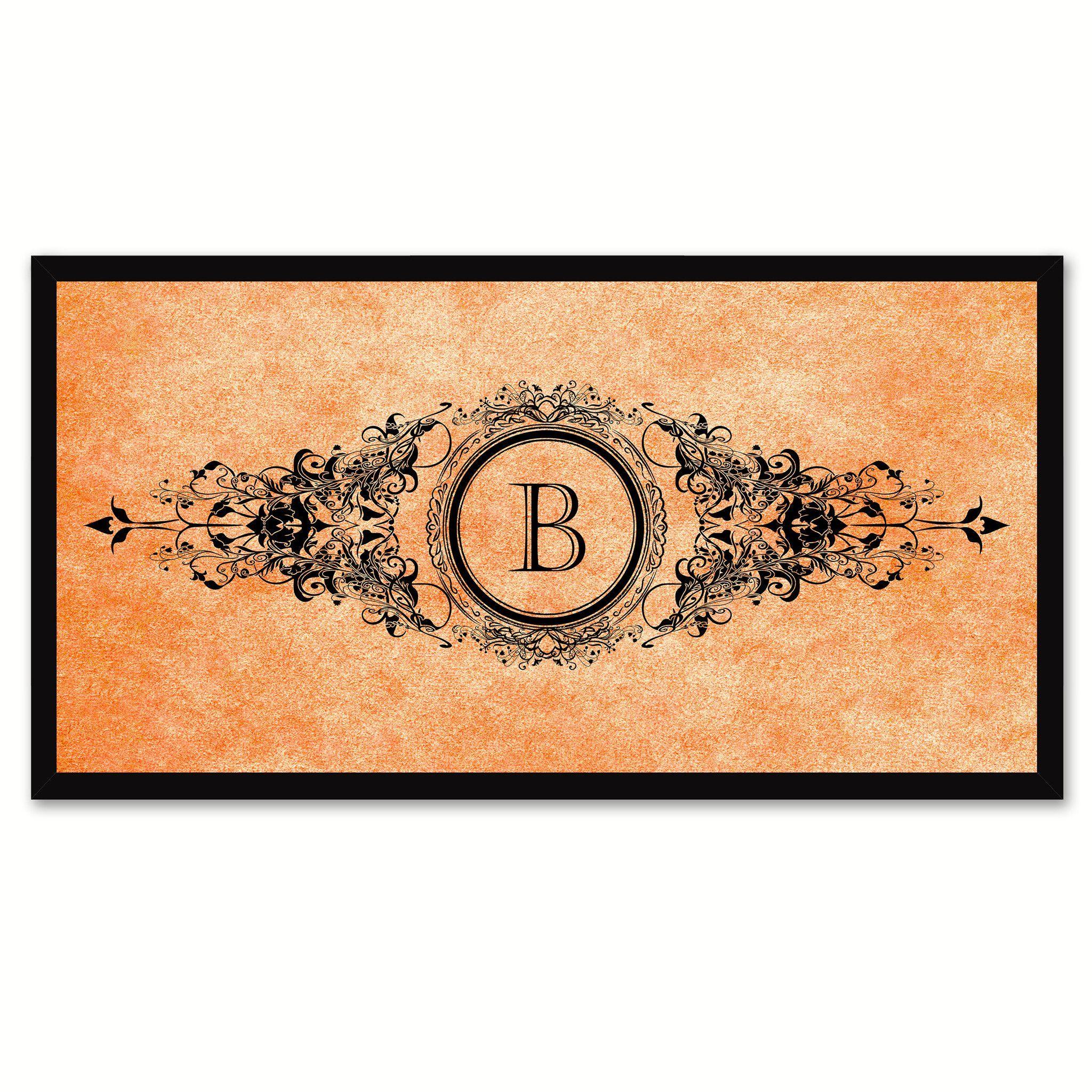 Alphabet Letter B Orange Canvas Print Black Frame Kids Bedroom Wall Décor Home Art