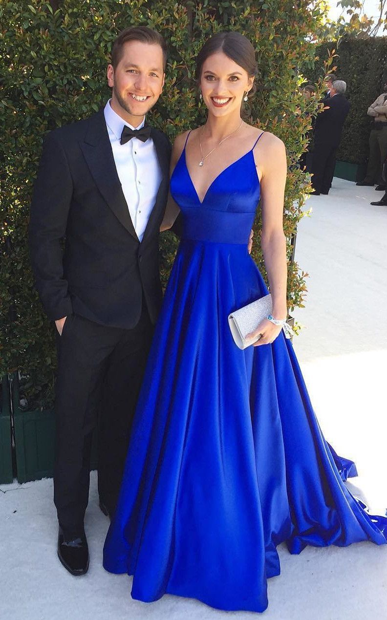 1de01ee33f35 A-Line Spaghetti Straps Backless Long Blue Prom Dress with Pockets on  Storenvy