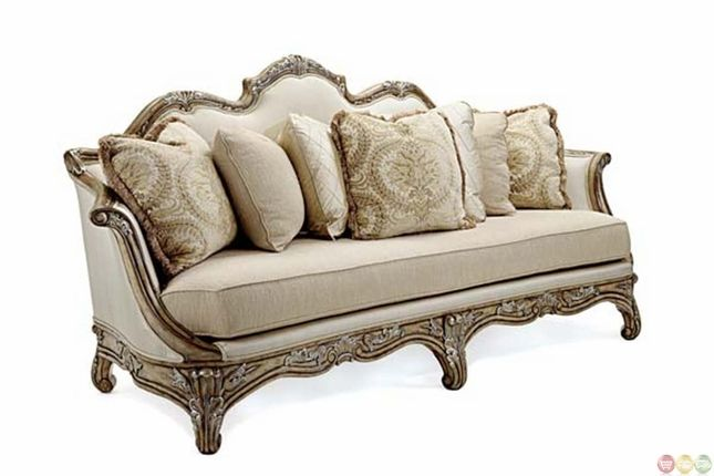 Vivacci Exposed Solid Mahogany Wood Frame Formal Sofa Set
