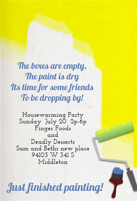Finished Painting Printable Housewarming Invitation Template