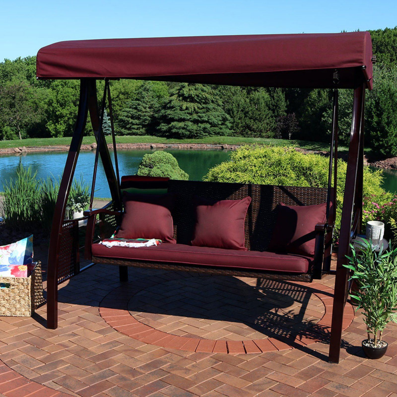 Sunnydaze Decor Deluxe Steel Frame Cushioned Canopy Swing With