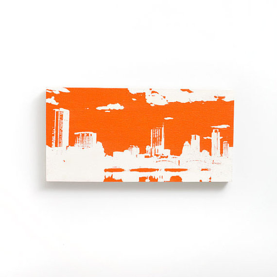Austin Skyline Wood Canvas 12 x 6 inches Orange and by iNKthePRINT