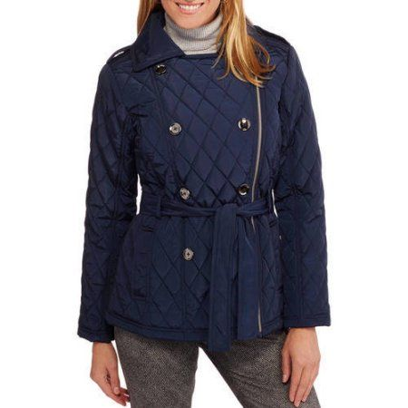 Women's Midweight Belted Quilted Double-Breasted Jacket, Size: Medium, Blue