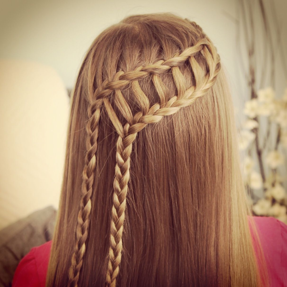 Feather waterfall amp ladder braid combo in hairstyles cute