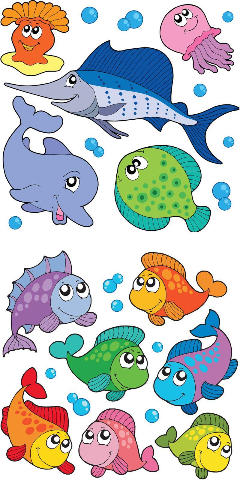 Summer beach scene vector stock vector colourbox - Set Of 12 Colorful Vector Cartoon Fishes Templates Cartoon Dolphin Needlefish Jellyfish