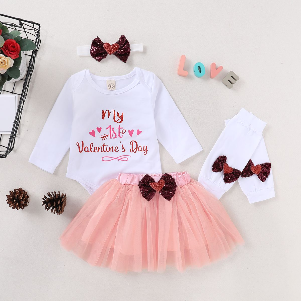 Baby Girls Valentines Day Outfits Toddler Kids Love Heart Print Romper+Tutu Skirt+Leg Warmers+Headband 4Pcs Clothes Set