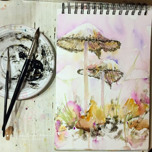 veredit - art©: Natural experiments Inspired by Jean Haines I've sketched mushrooms from my garden and all darks in this sketch are done with rescued ink from damaged mushroom caps lying in the grass. Great interaction with other pigments and a lovely granulation. I hope for less rain 🌧 and storm tomorrow - I need more ink 🖤🖋