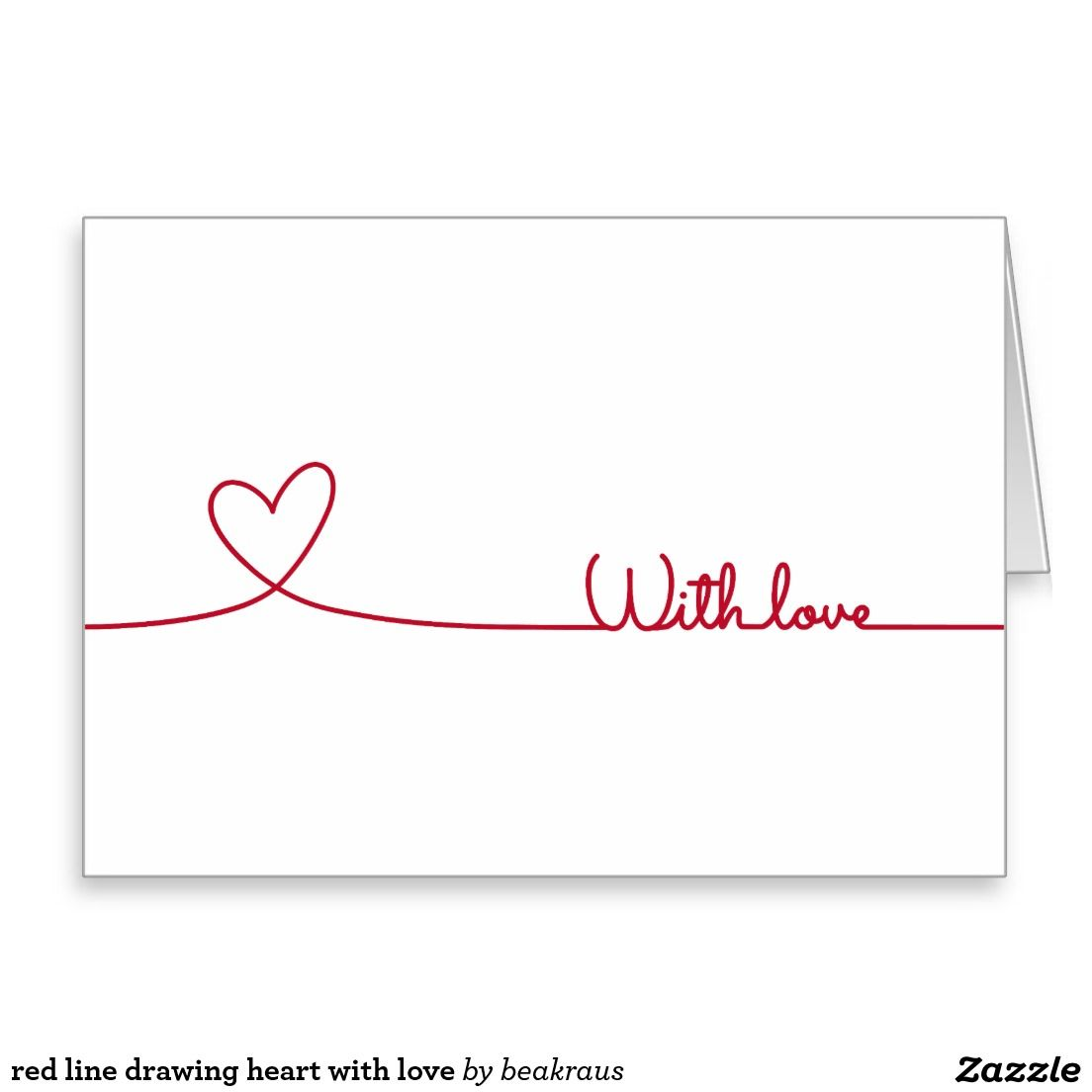 Corazn rojo del dibujo lineal con amor tarjeta de felicitacin