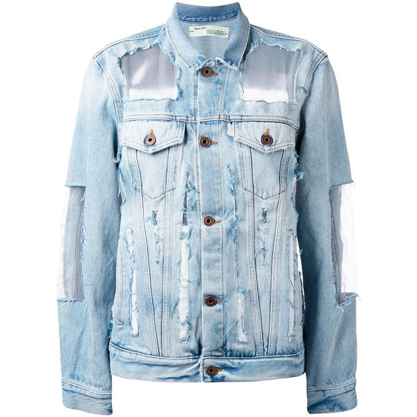 Off White Denim Jacket 1 368 Liked On Polyvore Featuring Outerwear Jackets Blue Off White Jacket Blue Jacke Designer Denim Jacket Off White Jacket Denim