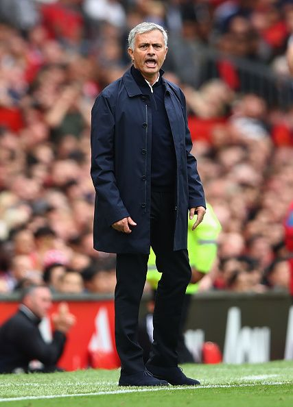 Manchester United manager Jose Mourinho shouts instructions to his team during…