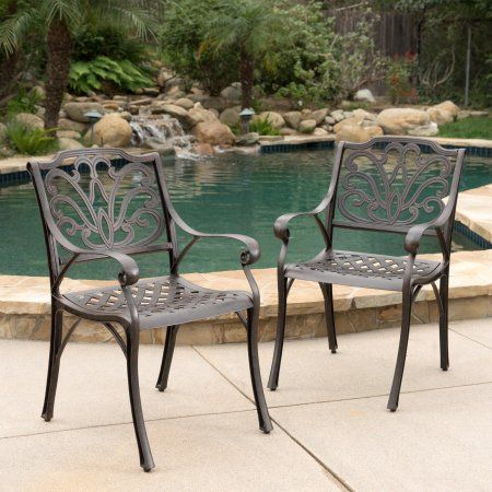 Noble House Alfred Outdoor Cast Aluminum Dining Chairs Set Of 2 Bronze Patio Dining Chairs Outdoor Dining Chairs Dining Chair Set