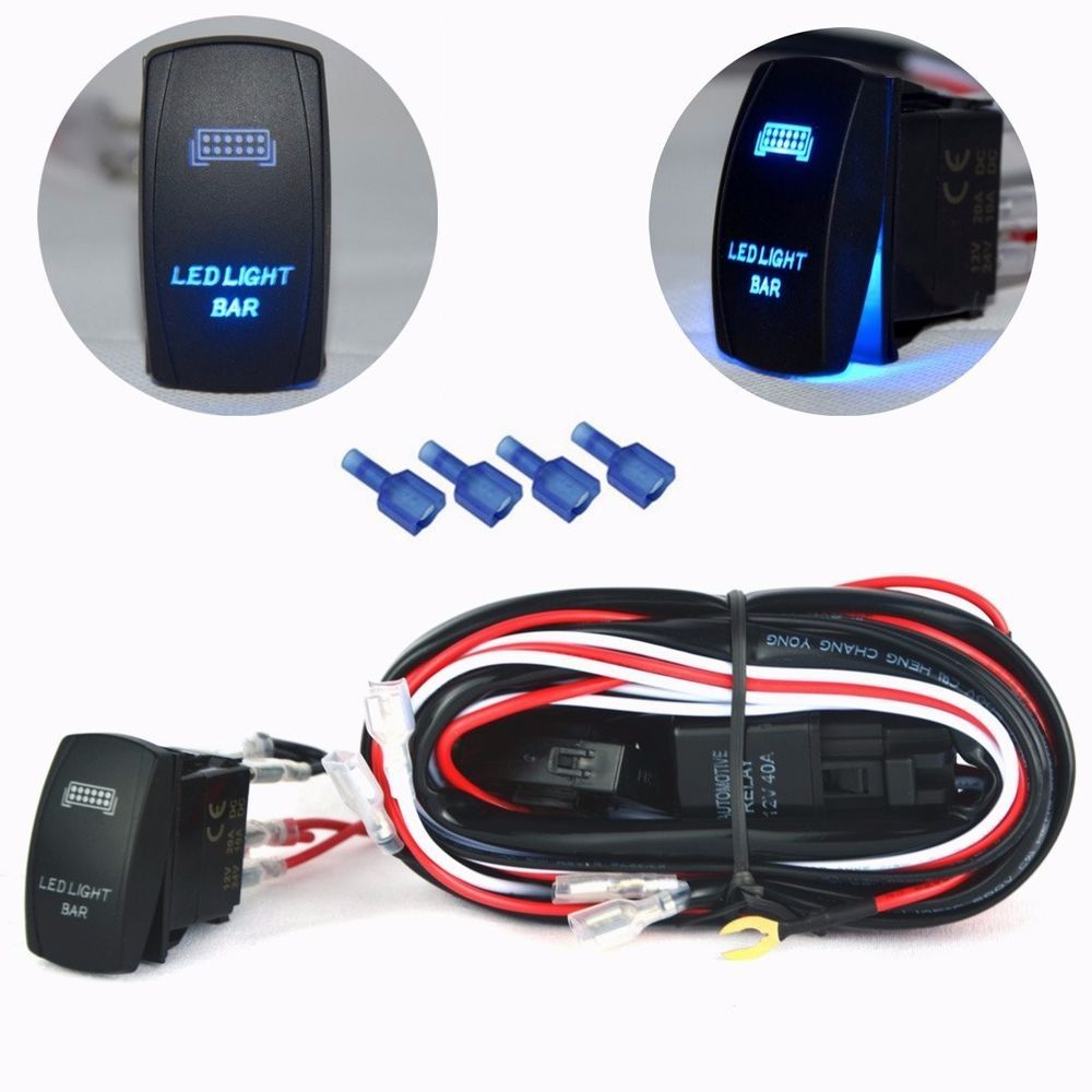 30 Amp Fuse Relay On Off Switch Led Light Bar Wiring Harness Atv Car Wire Truck Boat