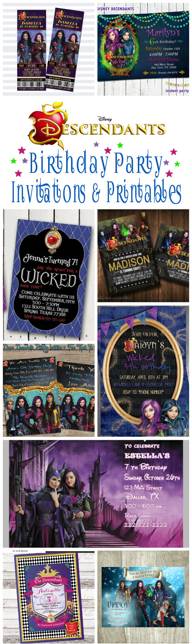 Disney Descendants Birthday Party Invitations And Other