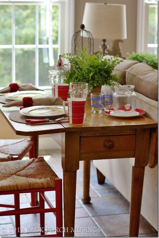 Back Porch Musings Narrow Drop Leaf Table For A Breakfast Table Or