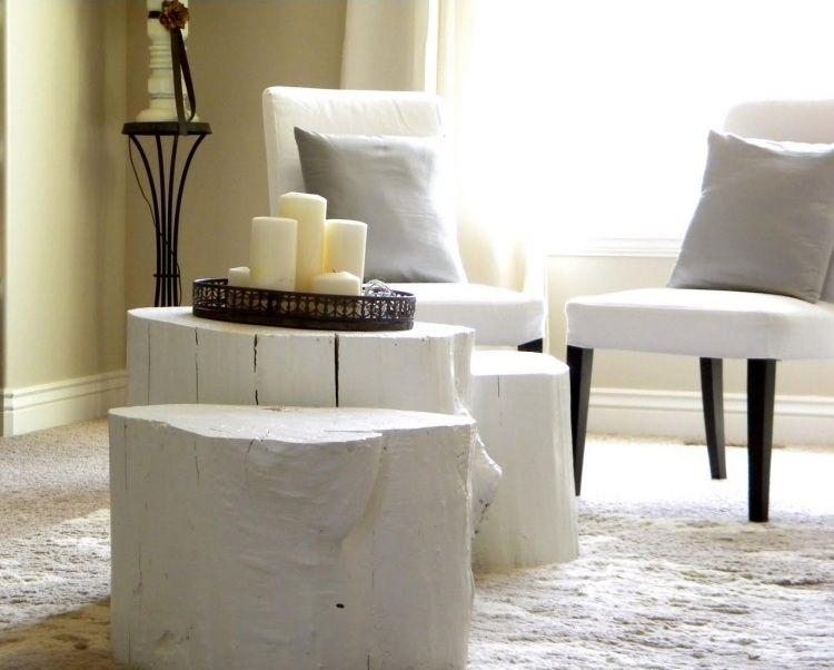 holzstumpf in wei streichen kaffeetisch wohnzimmer pinterest baumst mme tisch und baum. Black Bedroom Furniture Sets. Home Design Ideas