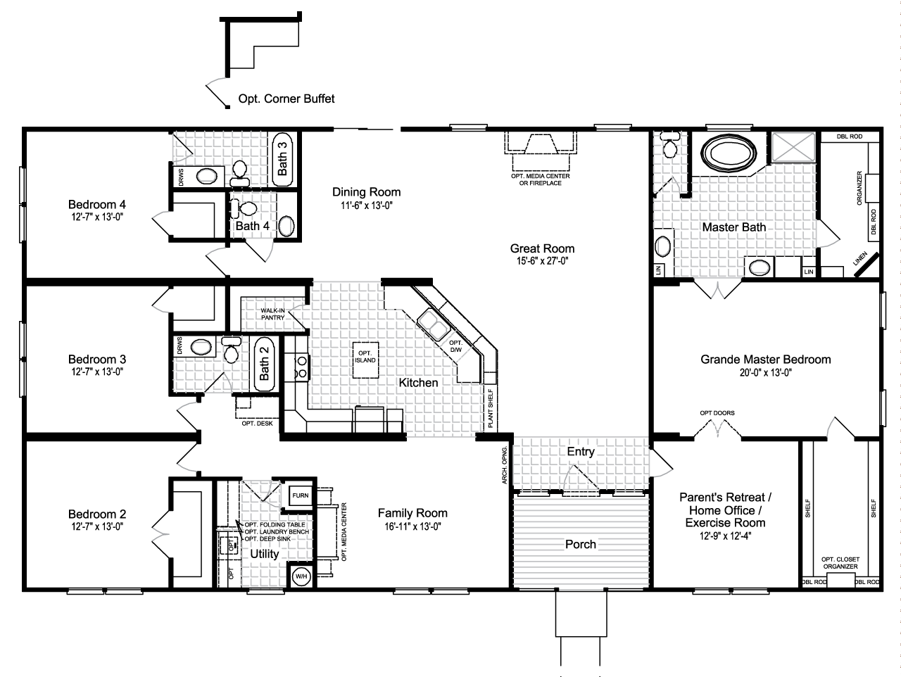 Palm harbor 39 s the hacienda iii vrwd76d3 or 41764a is a for 1 bedroom mobile home floor plans