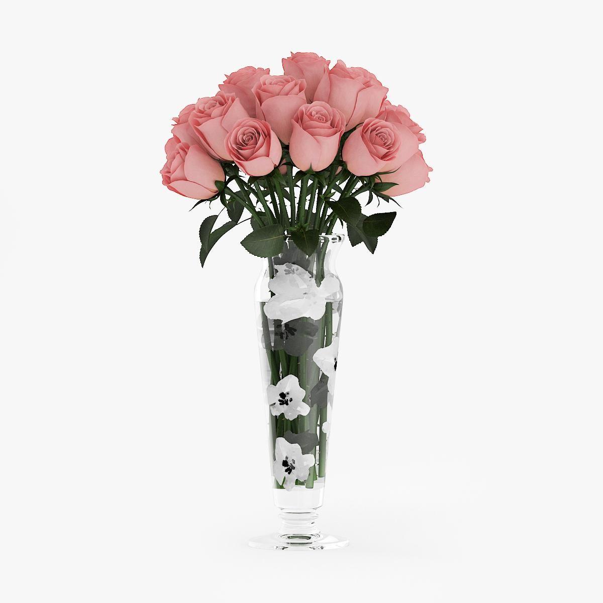 Pink Roses In Vase 3d Model Ad Roses Pink Model Vase Glass Vase Rose Vase