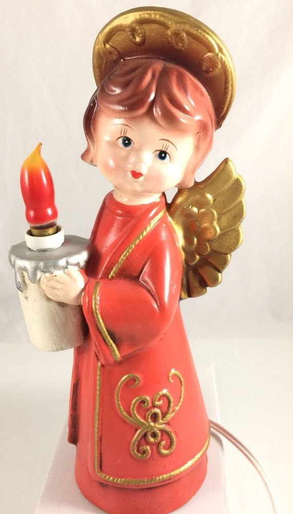 Vintage Angel Holding Candle Light Electric Lamp Made in