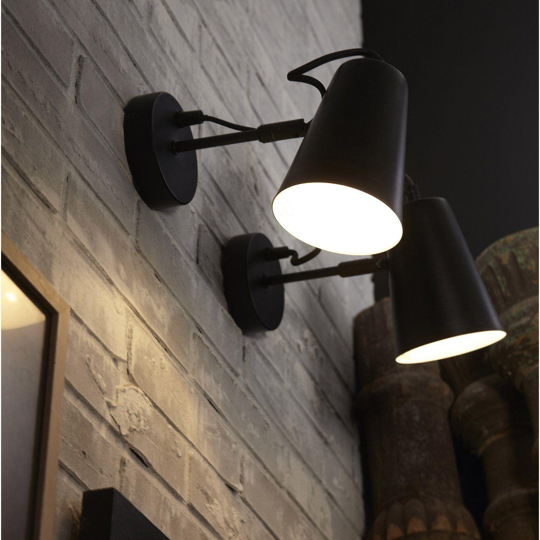 23 Leroymerlin Matiere Principale Metal Couleur Noir Type De Culot E14 Luminaire Luminaire Interieur Applique Murale Design